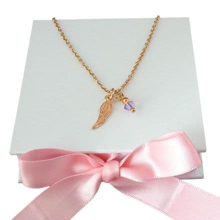 Angel Wing Necklace with Birthstone, Rose Gold