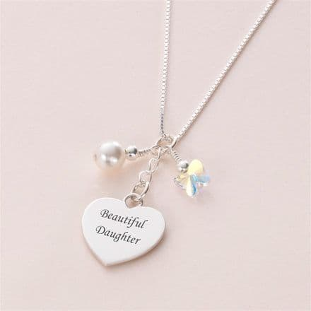 Any Engraving, Heart Necklace with Butterfly & Pearl