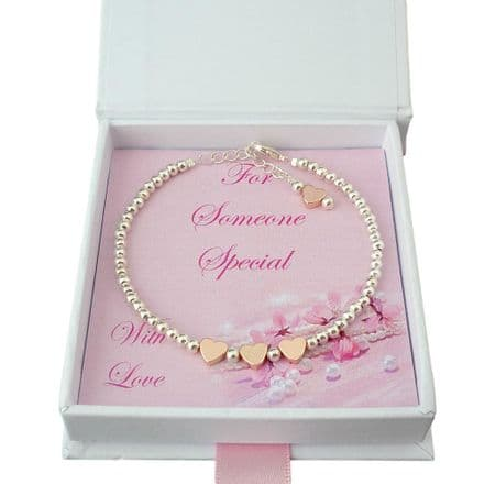 Beautiful Bracelet with Rose Gold Hearts for a Woman or Girl