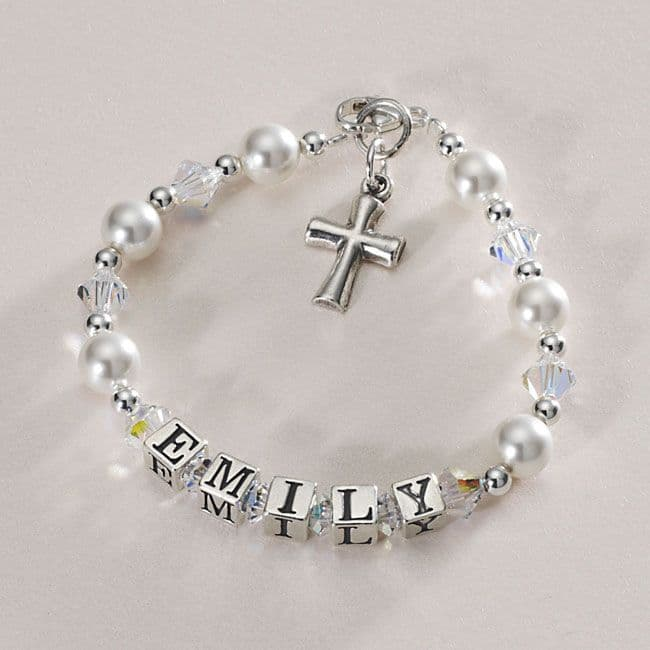 Beautiful Christening Name Bracelet with Silver Cross | Jewels 4 Girls