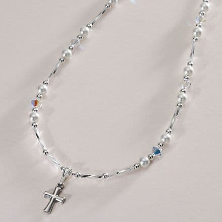 Beautiful First Holy Communion Necklace with Silver Cross