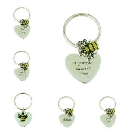 Bee Keyring with Engraving in Gift Box