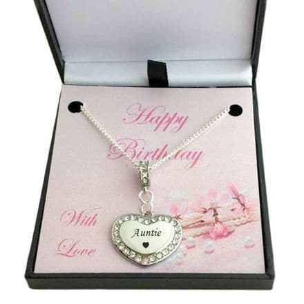 Birthday Heart Necklace in Box for Auntie, Nanny etc