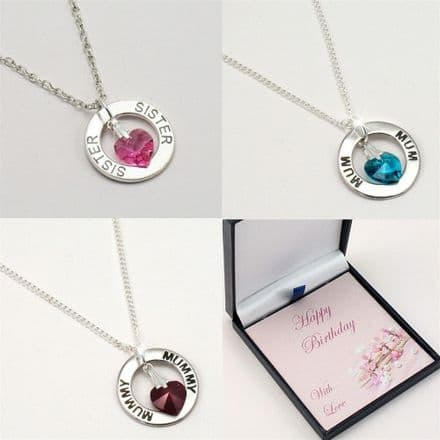 Birthday Necklace for Mum, Daughter, Sister etc