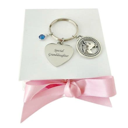 Birthstone and Horse Keyring with Engraving