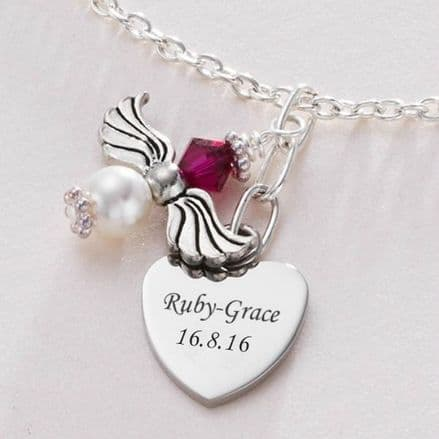 Birthstone Angel Necklace With Engraved Heart