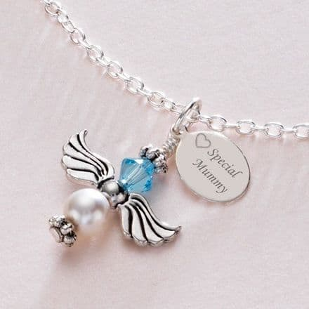 Birthstone Angel Necklace With Engraved Tag
