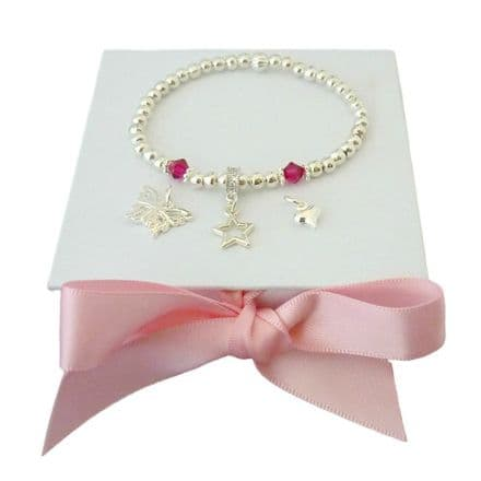 Birthstone Bracelet with Charm Choice in Gift Box