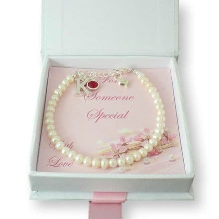 Birthstone Bracelet with Delicate Pearls and Letter Charm