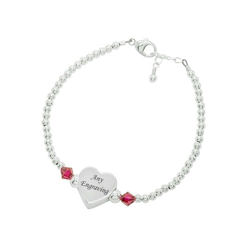 Birthstone Bracelet with Engraved Silver Heart | Jewels 4 Girls