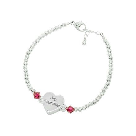 Birthstone Bracelet with Engraved Silver Heart