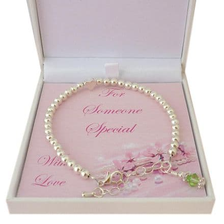 Birthstone Bracelet with Heart Bead in Special Gift Box
