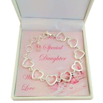 Birthstone Bracelet with Heart Chain for Sister, Daughter etc