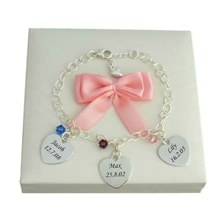 Birthstone Bracelet with Names Engraved on Silver Hearts