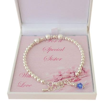 Birthstone Bracelet with Stardust Beads in Special Gift Box