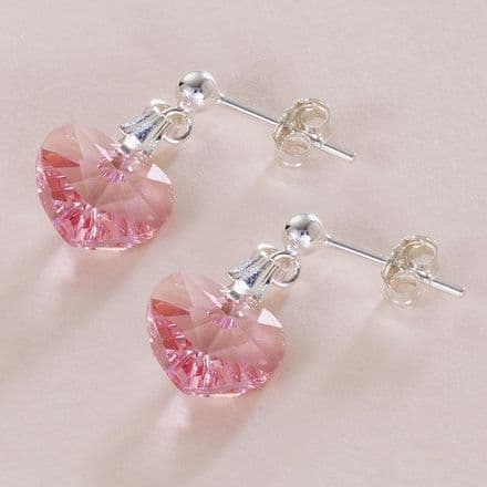 Birthstone Crystal Heart Earrings, Many Colours