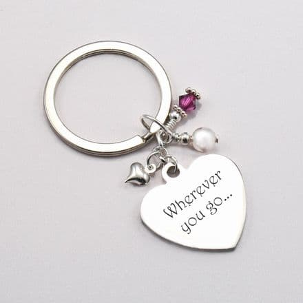 Birthstone Heart Keyring with Engraving