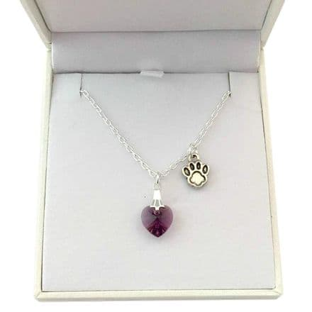 Birthstone Heart with Paw Necklace