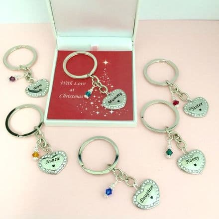 Birthstone Keyring in Christmas Box