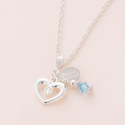 Birthstone Necklace With Engraved Tag Choice
