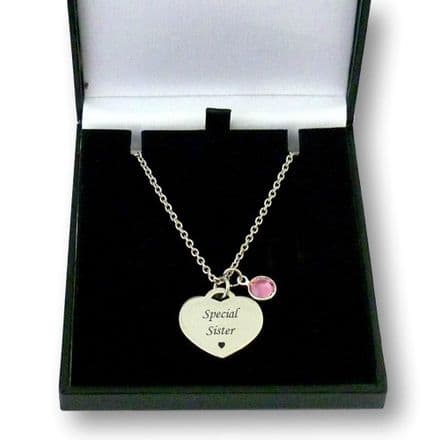 Birthstone Necklace with Engraving in Gift Box