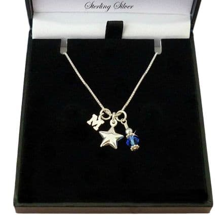 Birthstone Necklace with Letter Charm and Silver Star