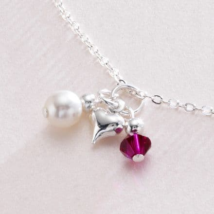Birthstone, Pearl & Puffed Heart Necklace
