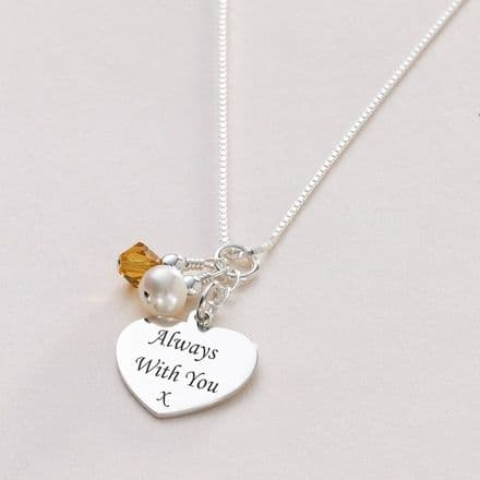 Birthstone & Pearl Silver Personalised Necklace
