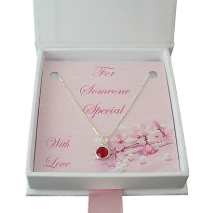 Birthstone Pendant on Sterling Silver Necklace Chain
