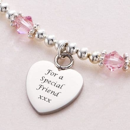 Birthstone Personalised Necklace with Custom Engraving
