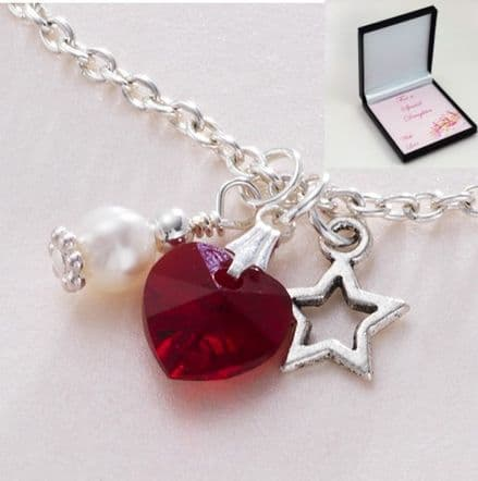 Birthstone, Star & Pearl Necklace