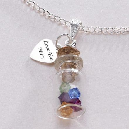 Birthstones in a Bottle Engraved Heart Necklace