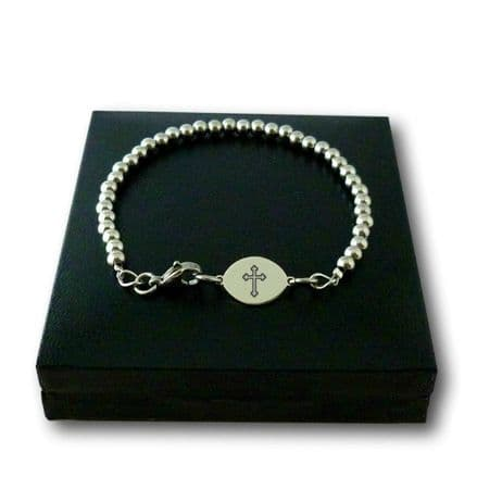 Boy's Engraved First Holy Communion Bracelet, Steel Beads