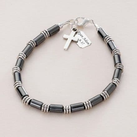 Boys Personalised Bracelet with Cross and Engraving