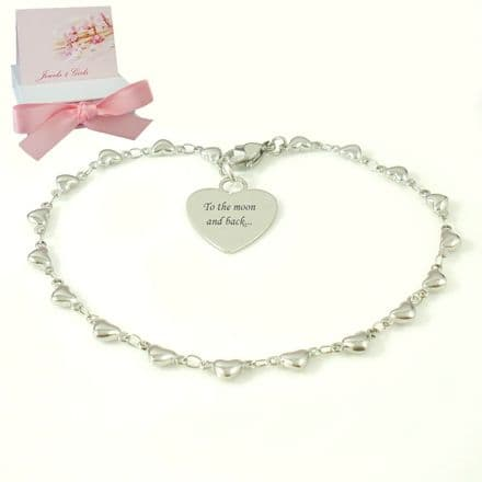 Bracelet for a Woman or Girl, Personalised with Any Engraving, Delicate Heart Links