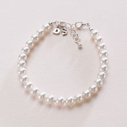 Bracelet for Bride with Bride and Groom Initial Charms.