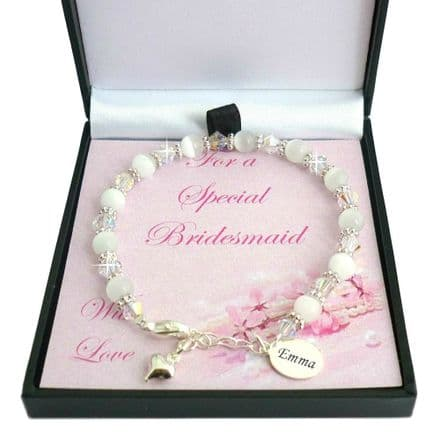 Bracelet for Bridesmaid  with Engraved Silver Tag