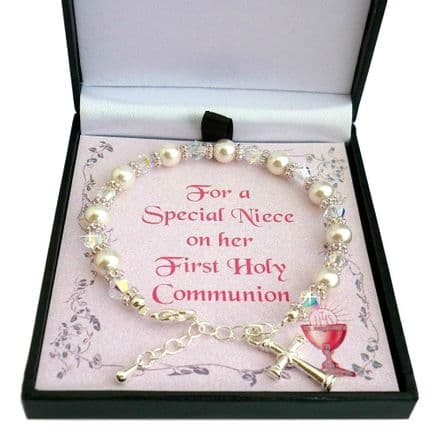 Bracelet for Girls First Holy Communion Day in Gift Box