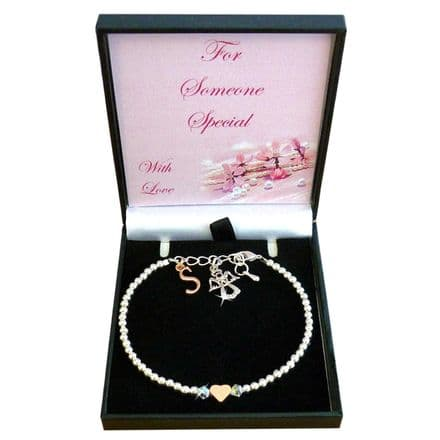 Bracelet with Angel and Letter Charm, For Niece, Daughter etc