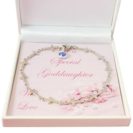 Bracelet with Cross Link Chain and Birthstone Charm