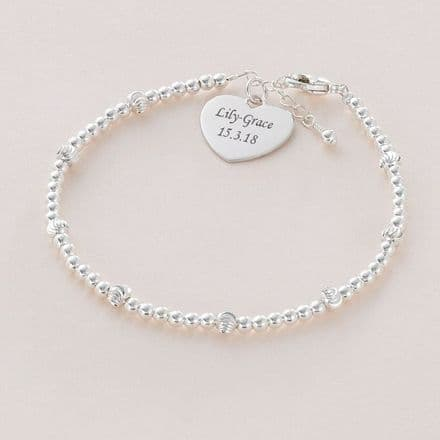 Bracelet with Silver Beads and Engraving