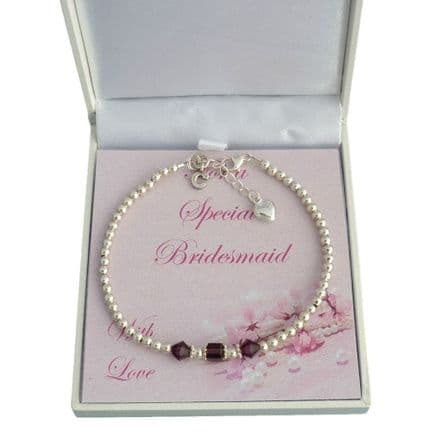 Bridesmaid Bracelet with Birthstones and Intial