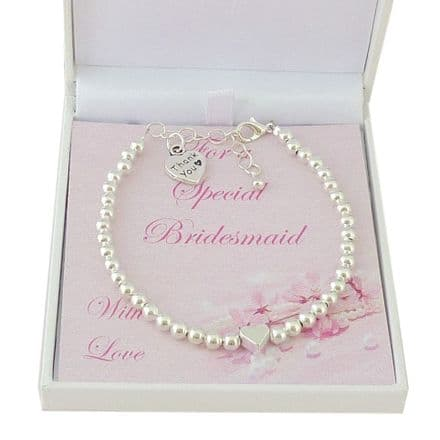Bridesmaid Bracelet with Heart Bead and Thank You Charm