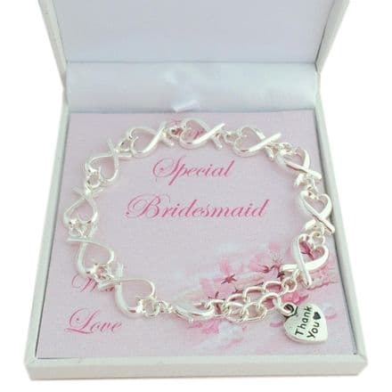 Bridesmaid Bracelet with Silver Hearts, Thank You Gift