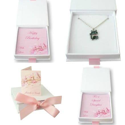 Cat Necklace in Gift Box for Daughter, Sister etc