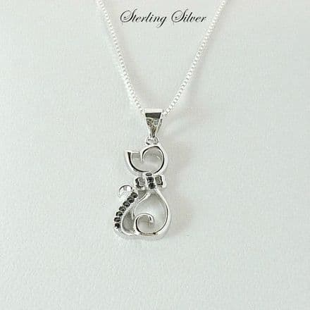 Cat Necklace, Sterling Silver with Cubic Zirconia