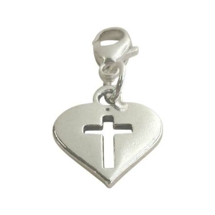 Catholic Cut Out Cross in Heart Charm on Lobster Clasp.