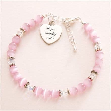 Cats Eye & Crystal Bracelet with Engraved Heart