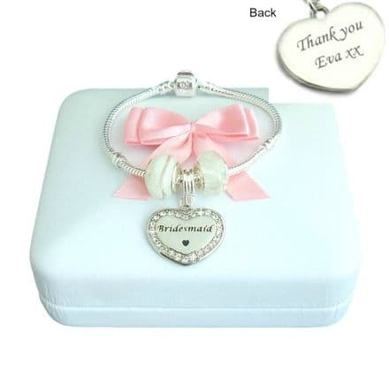 Charm Bead Bracelet in Pink or White with Engraved Charm