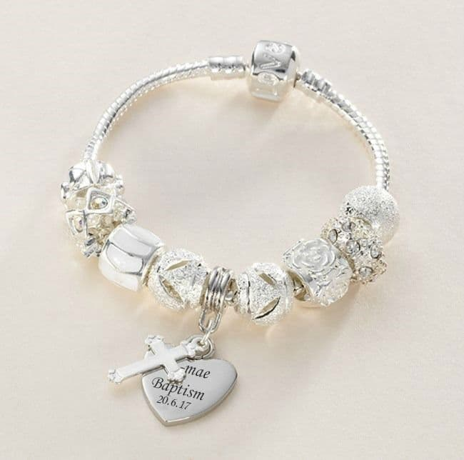 Charm Bead Bracelet in White with Engraved Charm   Jewels 4 Girls